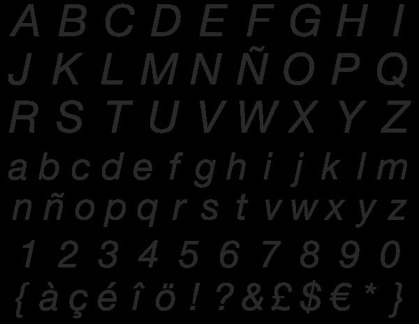 Helvetica, en su versión italic