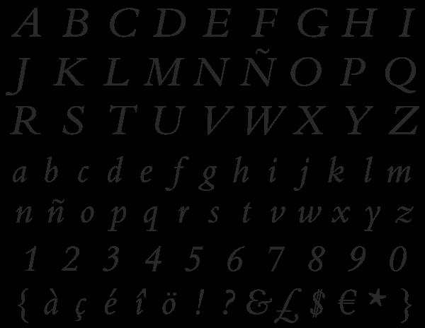 """Bembo Monotype, de Stanley Morison, en su versión """"italic"""""""